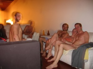 Relaxing after a great sauna victory.  Everyone's a winner!