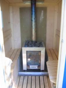 Inside a 1 person sauna
