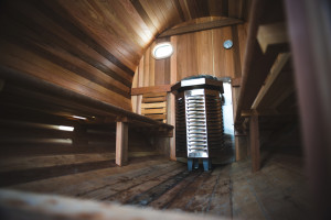 SurfSauna interior with vico-scandia gas heater