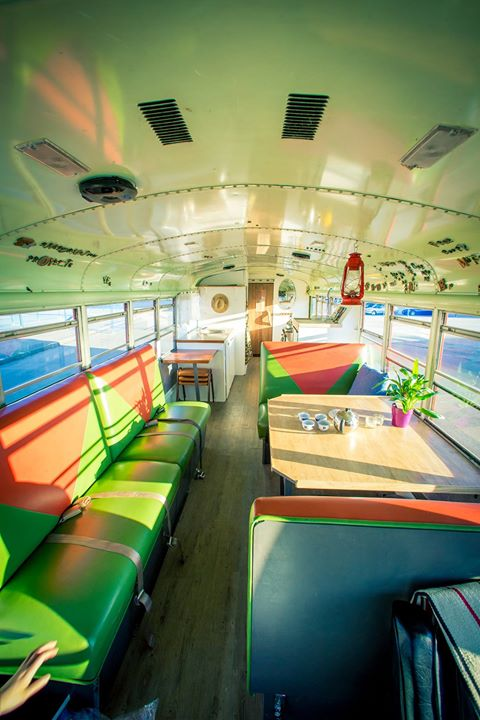 The TP Saunabus interior includes a lounge and kitchenette