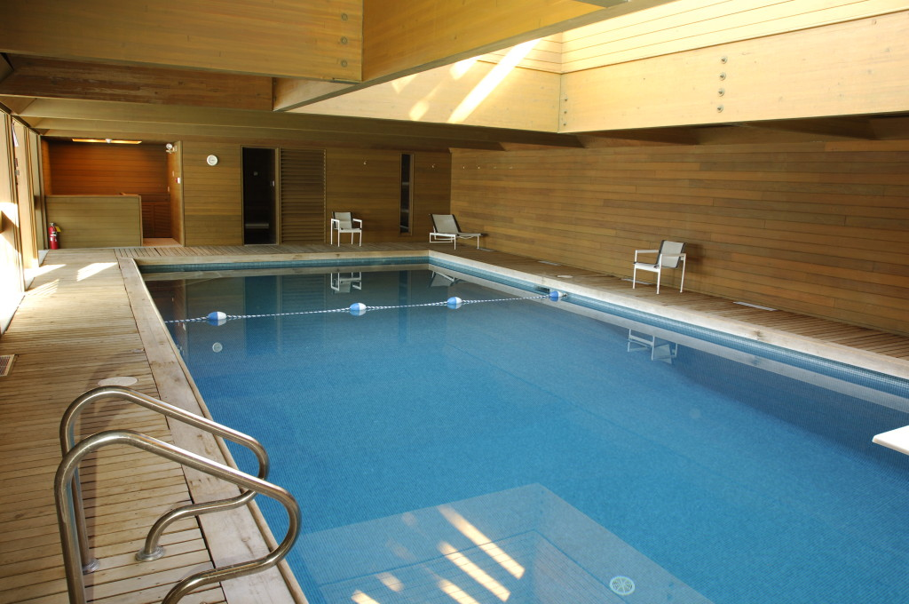 The pool and sauna at 24 Sussex Drive, designed by Stig Harvor and Pierre Trudeau