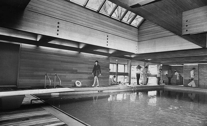 Members of the press inspect Prime Minister Trudeau's 20x40 foot pool at 24 Sussex Drive, Ottawa, Ont., July 11, 1975. (Chuck Mitchell/CP). In this photo you can see the pool skylight, and in the rear corner are the stairs leading to the underground walkway.